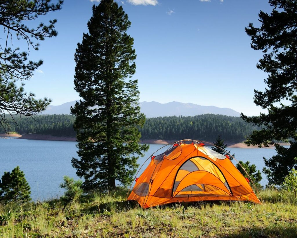 camping tent on the lake