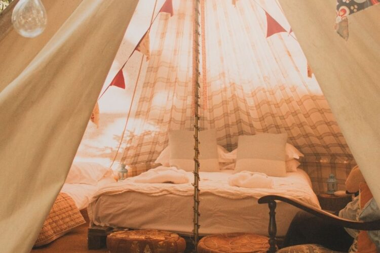 inside of glamping tent